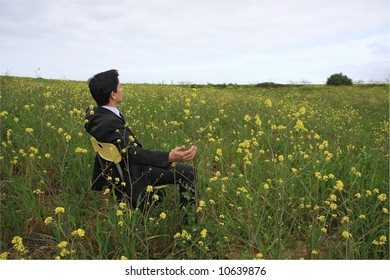 A business man sitting in a field enjoying the nature