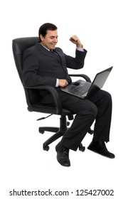 business man sitting on a chair over white background