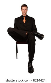 Business man sitting on office chair isolated