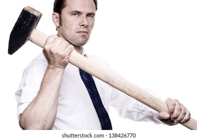 Business man with sledge hammer