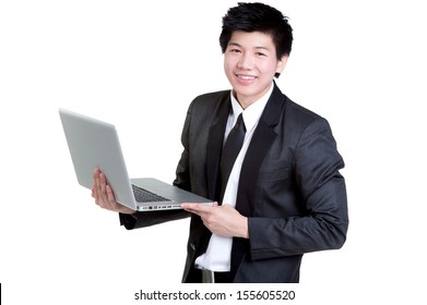 business man smart hold notebook in suit isolated