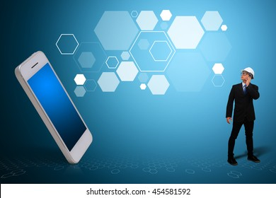 Business man and smart phone