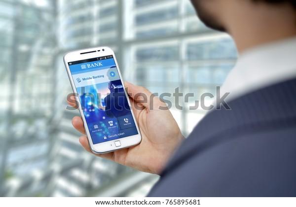Business Man Smartphone Home Banking App Stock Photo (Edit