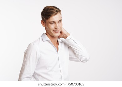 business man smiling on a light background