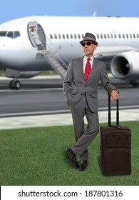 Business man standing by jet airplane