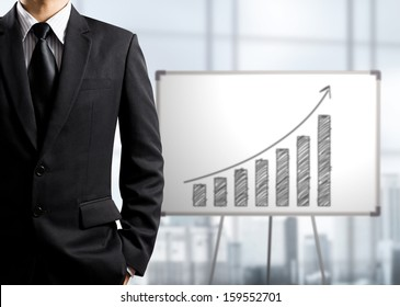 Business man standing and drawing growth chart on white board, success concept