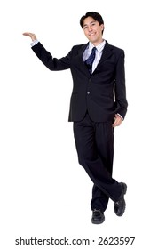 business man standing with his arm placed on something imaginary over white