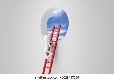business man standing a ladder on window. 3d rendering