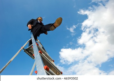 Business man standing on a ladder, taking a blind leap from the platform staring forward against a blue sky. Conceptual image for a daring decision.