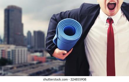 business man start exercise for good health