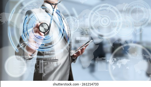 Business man with stethoscope, business analysis concept