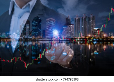Business man with stock market in Bangkok Cityscape at Business district area with high building, Bangkok, Thailand