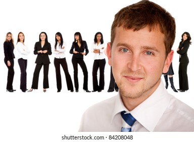 Business man with a successful group of women ? isolated