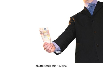 business man in suit giving money, isolated against a white background