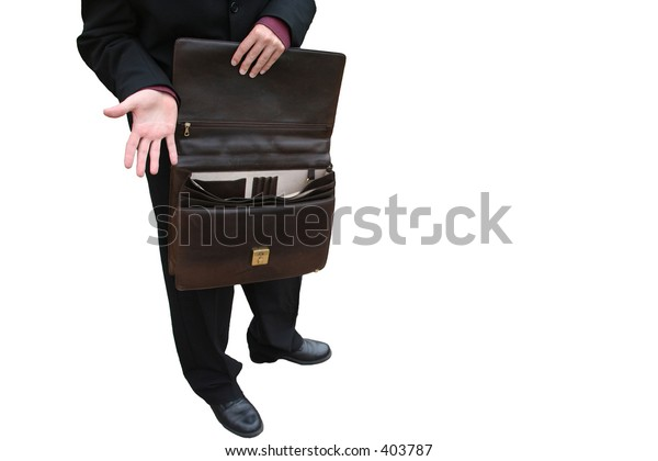 a business man in suit holding an open briefcase