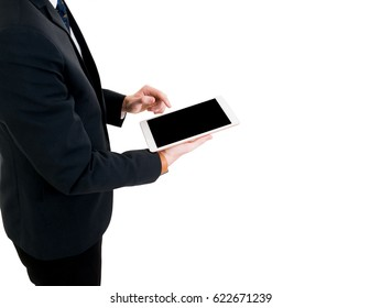 Business man in suit  holding smart tablet on hand. on isolated white background and black screen.