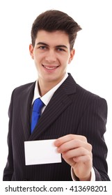 Business man in suit showing his blank business card ready for your text / photos of young businessman wearing a suit and tie over white background