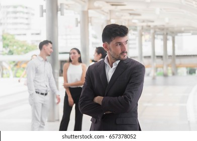 Business man in suit standing and looking . Business teamwork new  generation ,Business concept of success industry tech .