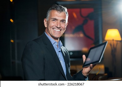 Business man with tablet