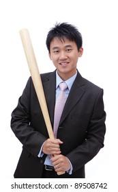 Business man take baseball bat with friendly smile