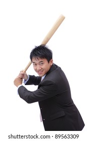 Business man take baseball bat with friendly smile ready for a good hit