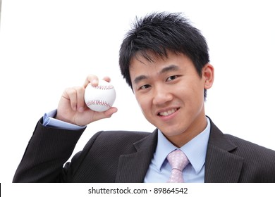 Business Man Take baseball in the hand with smile
