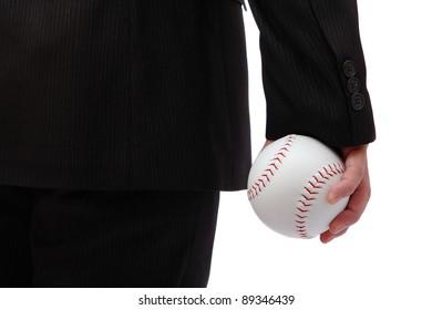 Business man take baseball ready to  pitching