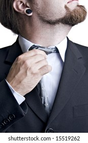 business man taking his uncomfortable tie off