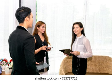 Business Man talking dealing with Woman to Signing Contract