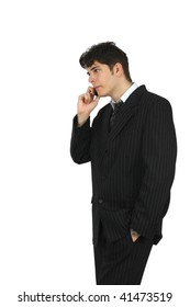 business man talking on the phone over white background