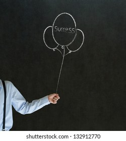 Business man, teacher or student arm and hand holding chalk success balloons on blackboard background