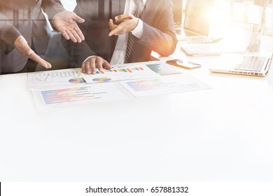 business man with team financial inspector and secretary making report, calculating or checking balance. Internal Revenue Service inspector checking document. Audit concept at working