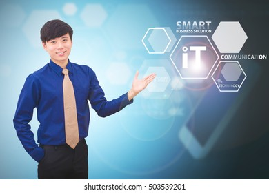 Business man and technology concept