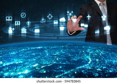business man with the technology over internet of things world