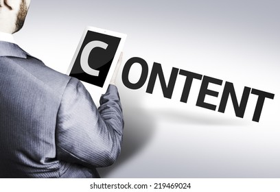 Business man with the text Content in a concept image