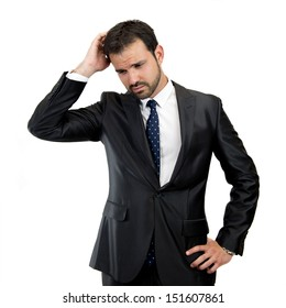 business man thinking isolated over white background