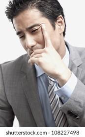 business man thinking on white background