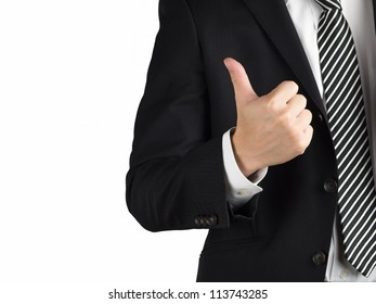 A business man with thumb up isolated on white background