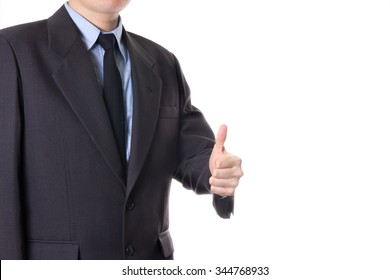 business man thumb up sign gesture isolated on white background