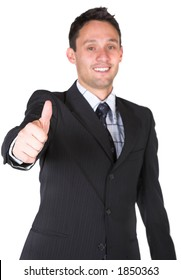 business man thumbs up over white