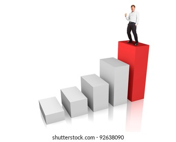Business man at the top of a rising bar chart - success or motivation concept