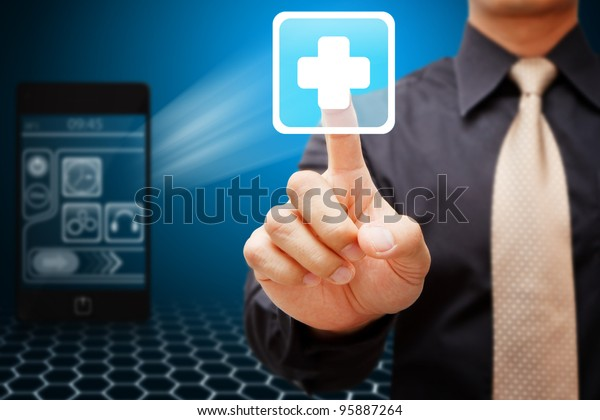 Business man touch the First Aid icon