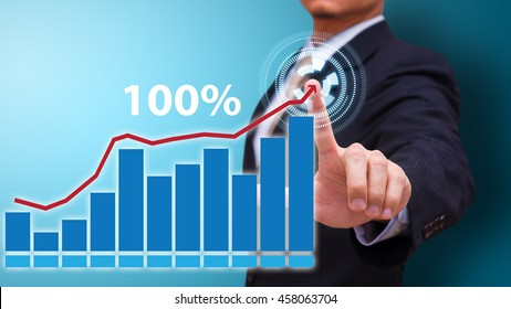 Business man touch the growing up 100 percent graph
