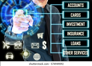 Business man touch a Home button on hologram screen. Online banking business finance concept. Money management concept.