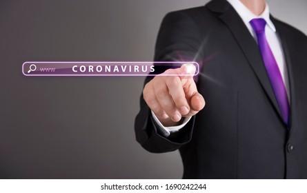 Business man touch screen concept - Coronavirus