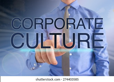 "Business Man Touching A Futuristic Touch Screen ""Corporate Culture"""