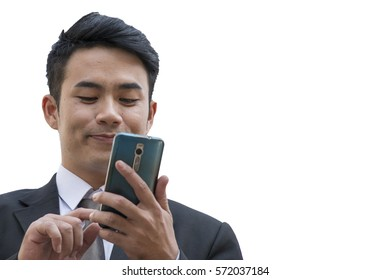 Business man is touching at mobile phone on white background.