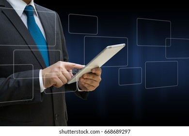 Business Man touching modern tablet with the virtual panel of round rectangle interface, business concept