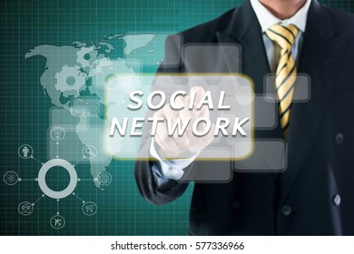 BUSINESS MAN TOUCHING ON DIGITAL SCREEN WRITE  SOCIAL NETWORK.