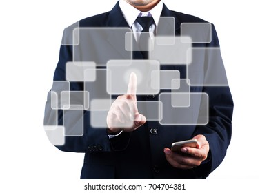 Business man touching on graphic icon screen, isolated on white background